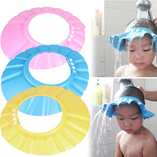 Wiixiong 3 Pack Baby Bath Shower Cap, Adjustable Hat Suitable for Head Circumference is 34-45cm, Soft Wash Hair Shield Hat for Toddler Children