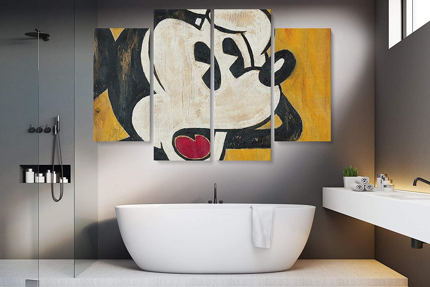 Mickey Mouse Vintage Canvas Art Wall Art Home Decor (4 Piece Large)