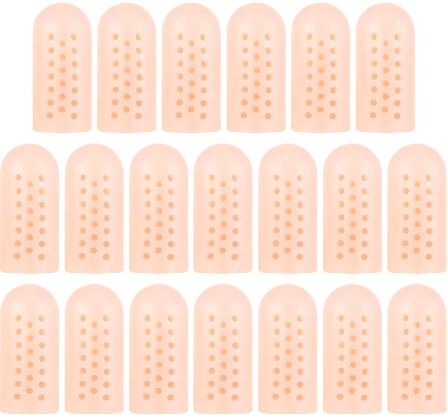 20 Pieces Gel Toe Cover Cap Gel Protector Breathable Toe Protector Toe Silicone Sleeve Crease Cushion Pads for Toenails Loss and Friction Pain Relief, Large Size