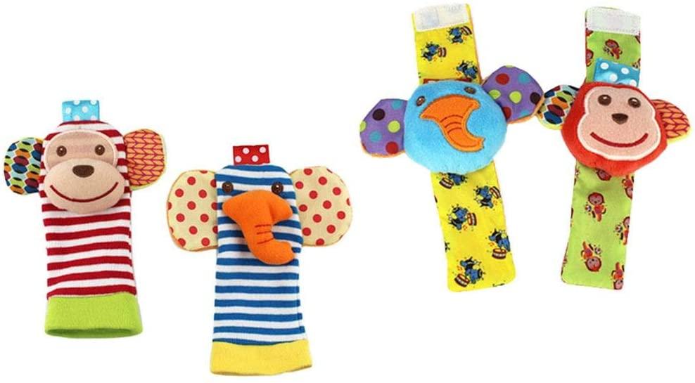 RedSuns Baby Wrist Rattle Foot Finder Socks Set, Infant Rattle Toy Socks Wrist Rattles & Foot Rattles Foot Finders, Birthday Holiday Birth Present for Newborn Kids Toddler