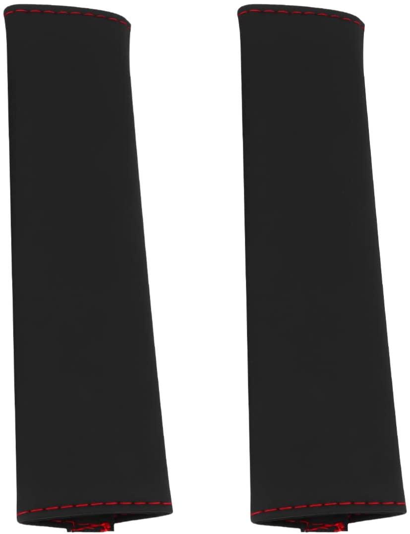 Garneck 2PCS Car Seat Belt Cover PU Leather Sponge Driving Seatbelt Pad Shoulder Pretector Cushions for Airplane Luggages Automotive Supply(Black 33cm)