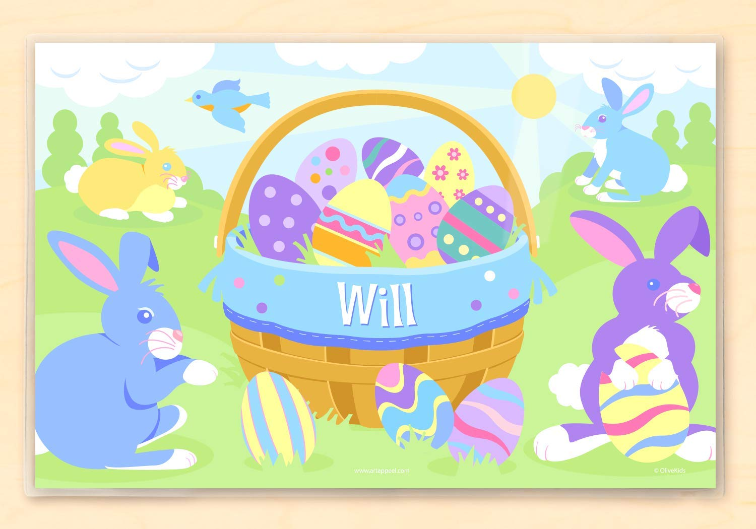 Easter Basket Personalized Placemat by Art Appeel, Blue, 18 by 12 Inches, Laminated