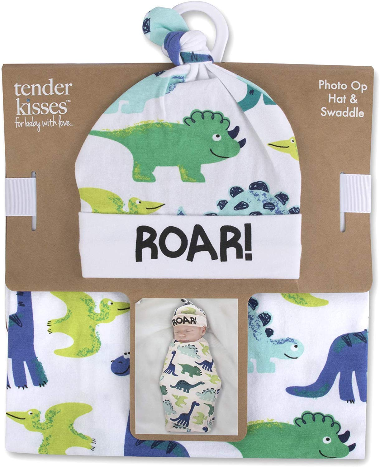Soft Cotton Baby Swaddle Wrap Blanket with Matching Hat or Headband Cap Set for Newborns and Infants (Dino1)