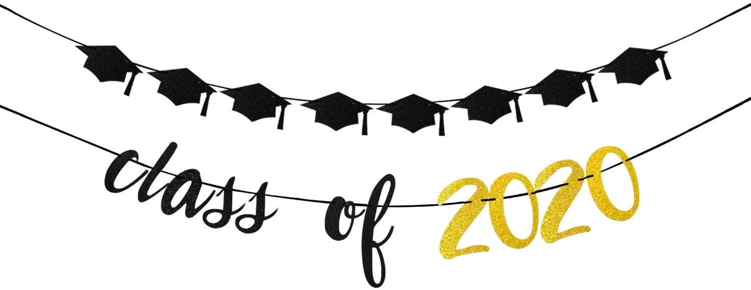 Class of 2020 Banner and Black Hats Garlands, Congrats Grads, Senior High School College Graduation Party Bunting Decorations Black Gold Glitter.
