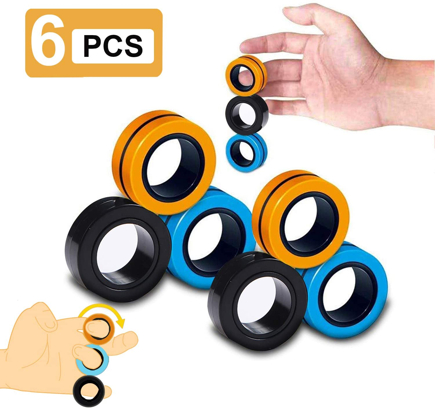 ALLFEIYA Magnetic Rings Toy ,Finger Toys,,Magnetic Fingertip Toy,Colorful Magical Finger Game ,Decompression Toy for Children and Adults Magnetic Ring (Black-Blue-Orange, 6)