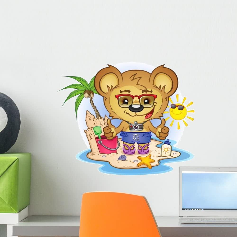 Wallmonkeys Beach Teddy Bear Cartoon Wall Decal Peel and Stick Graphic (18 in W x 16 in H) WM262027