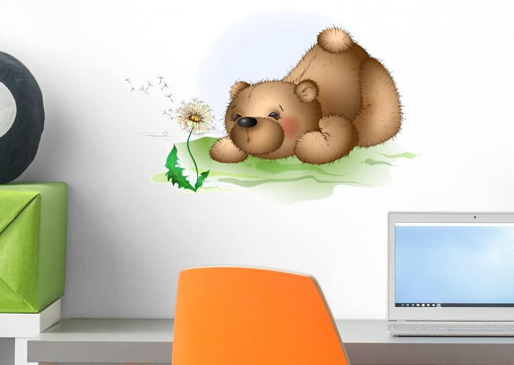 Wallmonkeys FOT-78474322-18 WM138599 Teddy Bear and Dandelion 2 Peel and Stick Wall Decals H x 18 in W, 18 18 W-Small