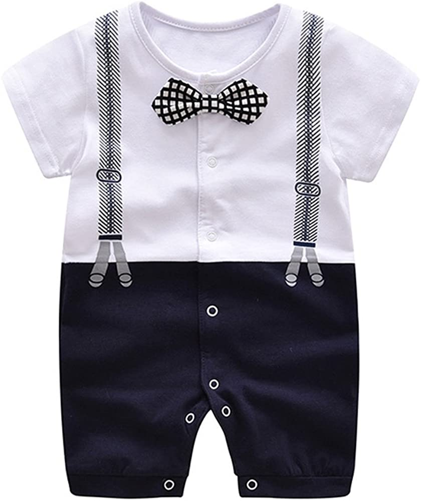 Ding-dong Baby Boy Summer Cotton Gentleman Bowtie Romper