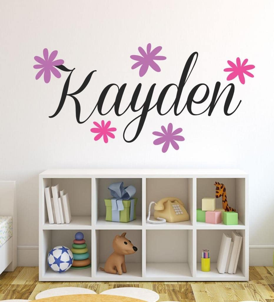 Nursery Custom Name Flowers Wall Decal Sticker, 36