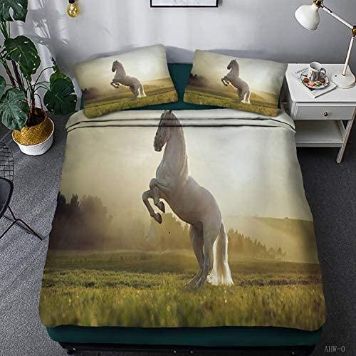 3 Pcs Bedding Set Twin Size White Horse Printed Soft Simple Duvet Cover Animal Theme Comforter Cover Decor 3D Printed Duvet Cover for Teens Kids