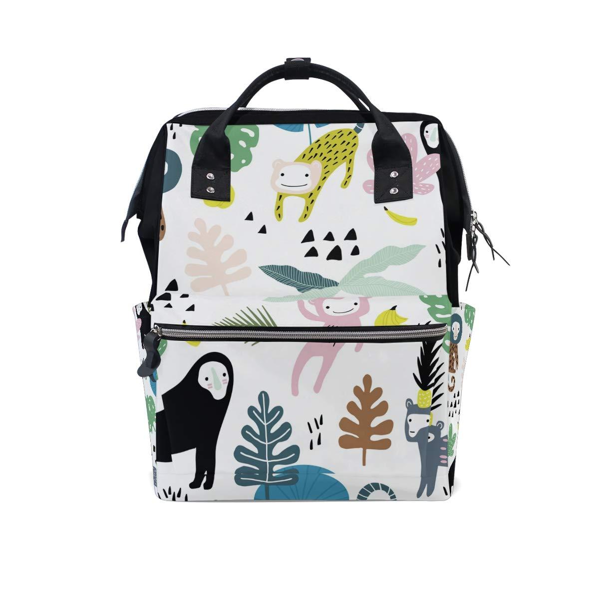 MERRYSUGAR Diaper Bag Backpack Cute Monkey Banana Multifunction Travel Bag