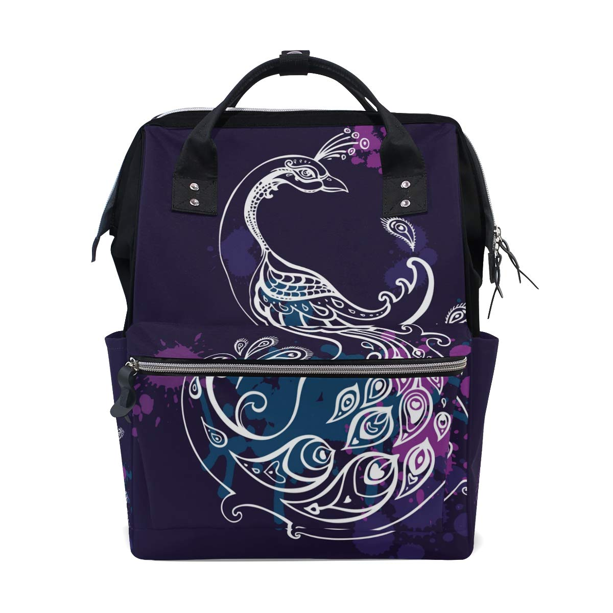 MERRYSUGAR Diaper Bag Backpack Peacock Feather Purple Multifunction Travel Bag
