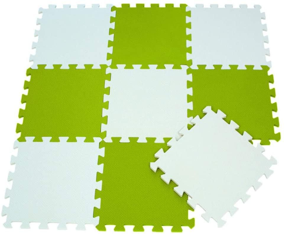 Foam Puzzle Floor Mat for Kids White Grass Green Baby Crawling Mat 9PCS Interlocking Foam Floor Tiles for Classroom Toddler Activity Carpet