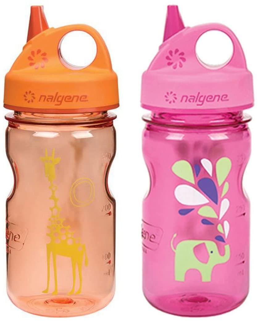Nalgene Grip-N-Gulp Kid's/Children's Tritan 12oz Water Bottles - Multi-Patterm Bundle Pack of Two Bottles. Each Bottle is 7.5 Inches Tall by 3 Inches in Diameter