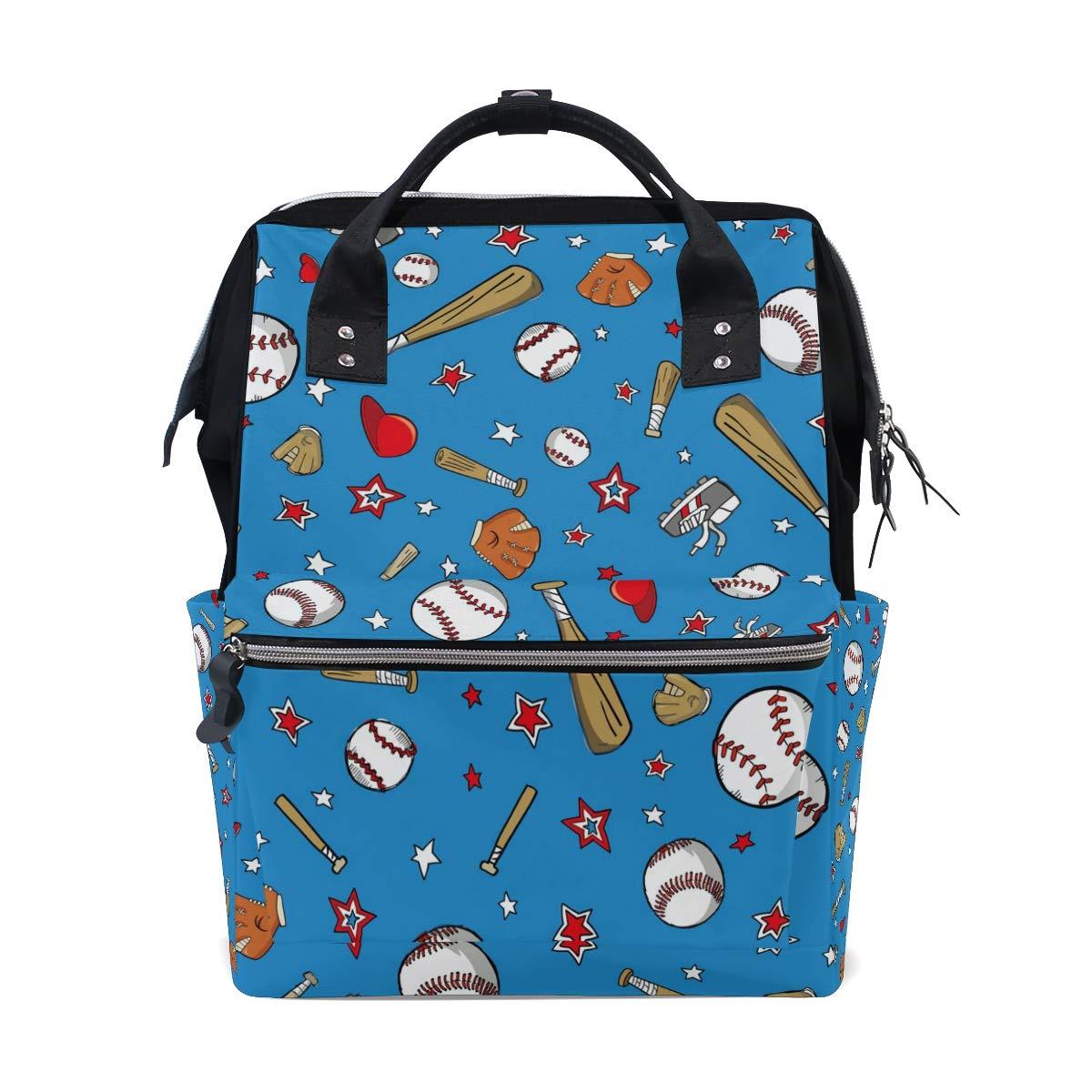 MERRYSUGAR Diaper Bag Backpack Baseball Star Blue Baby Bag School Backpack Mommy Bag Large Multifunction Travel Bag