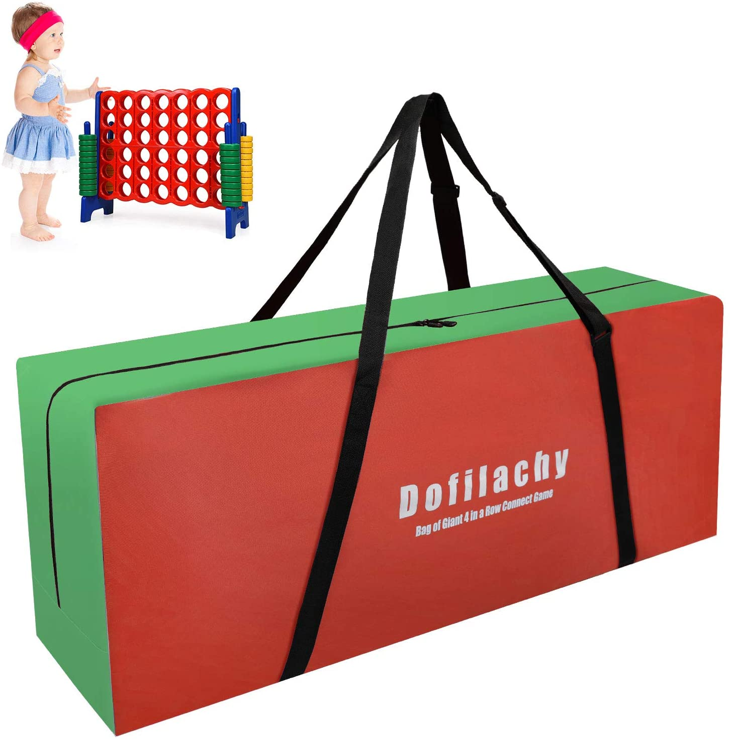 Dofilachy Giant 4 in A Row Carry and Storage Bag-Life Size Outdoor Games Carry and Storage Bag for Giant Connect 4 in A Row Game-Easily Transport Connect 4 Game to Anywhere(Green+Red)
