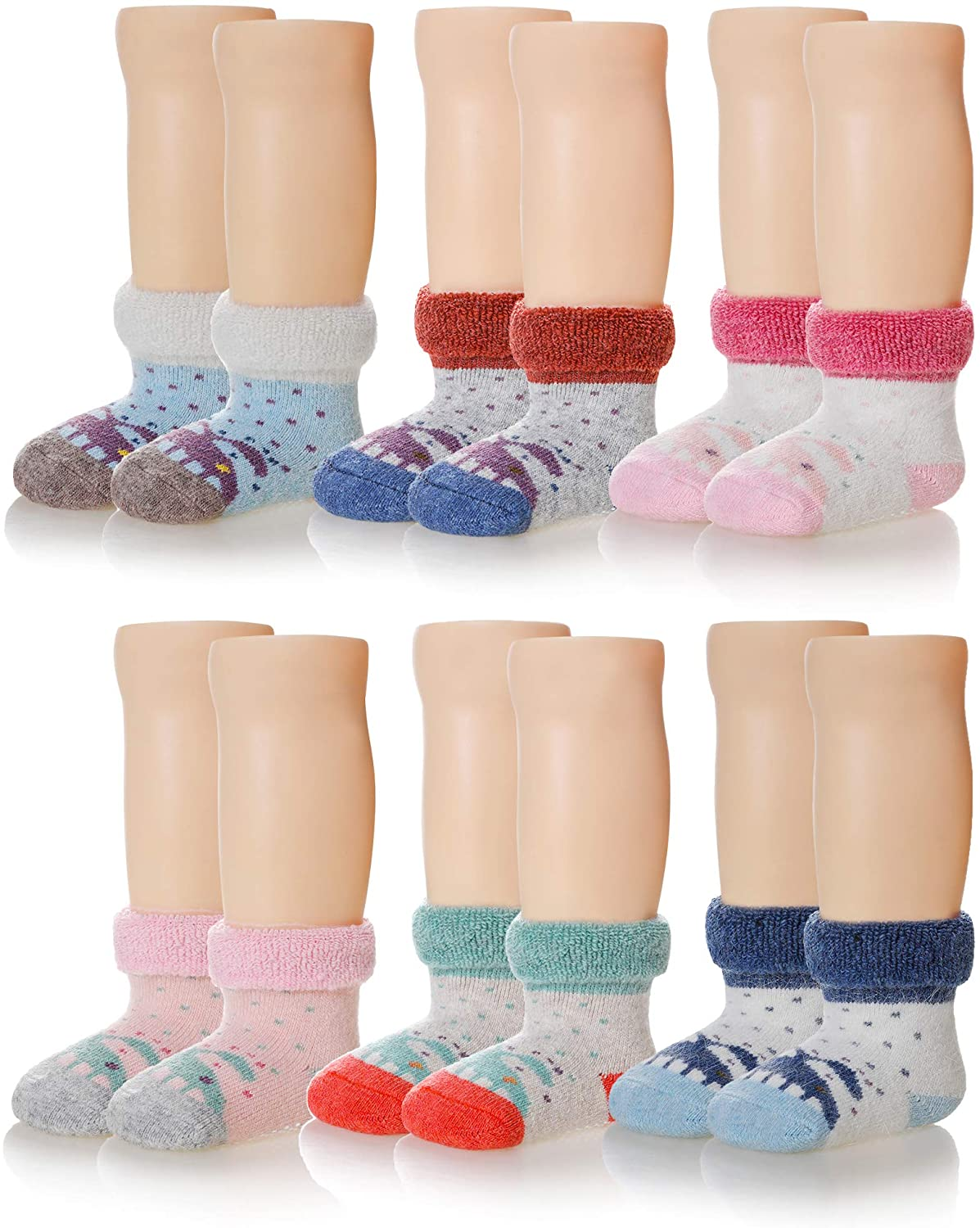 6 Pairs Baby Boy Girl Non Slip Socks Child Toddler Winter Thick Soft Wool Kids Warm Socks with Grips