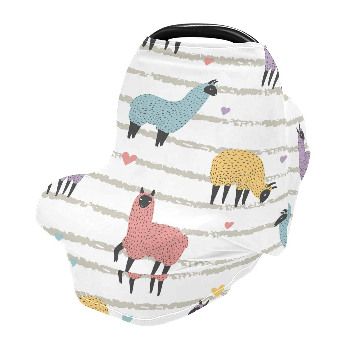 Nursing Cover Breastfeeding Scarf Cute Colorful Llama On Striped- Baby Car Seat Covers, Infant Stroller Cover, Carseat Canopy for Girls and Boys(w)