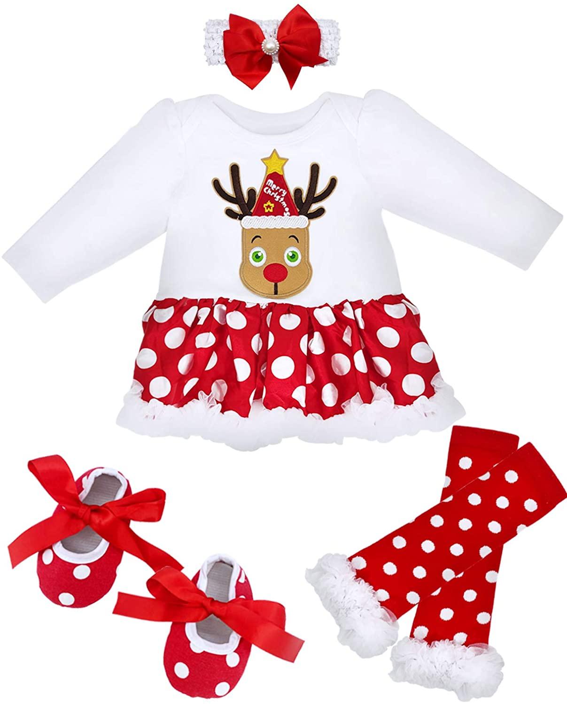 Camlinbo 5Pcs Baby Girl Christmas Tutu Dress Outfit Infant Newborns Reindeer Romper Headband Leg Warmers Shoes 0-14M