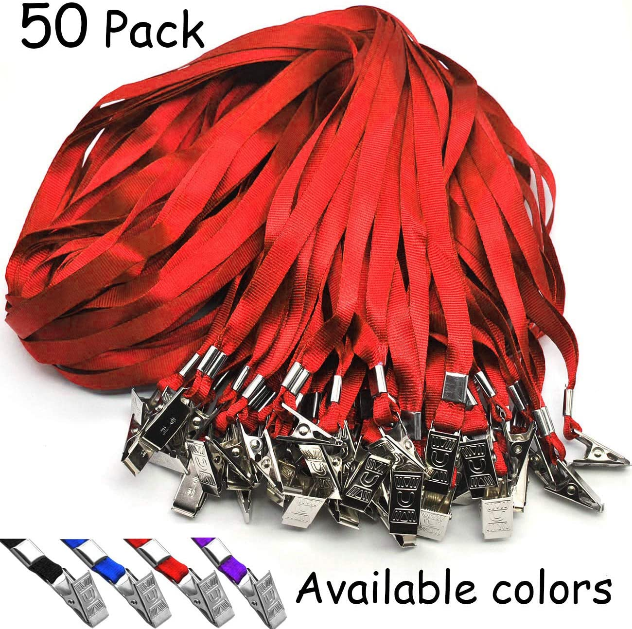 Red Lanyard Beebel 50pcs 32 inch Lanyards for ID Name Tag Badge Holders Or Other Portable Item (Red)