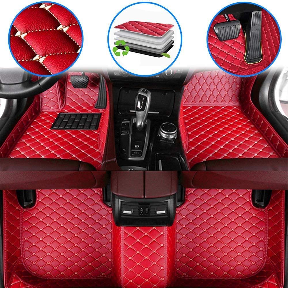 WANLING Car Custom Floor Mats for Buick Encore 2013-2018 Luxury Leather Waterproof Non-Slip Full Coverage Floor Liner Full Set (red)