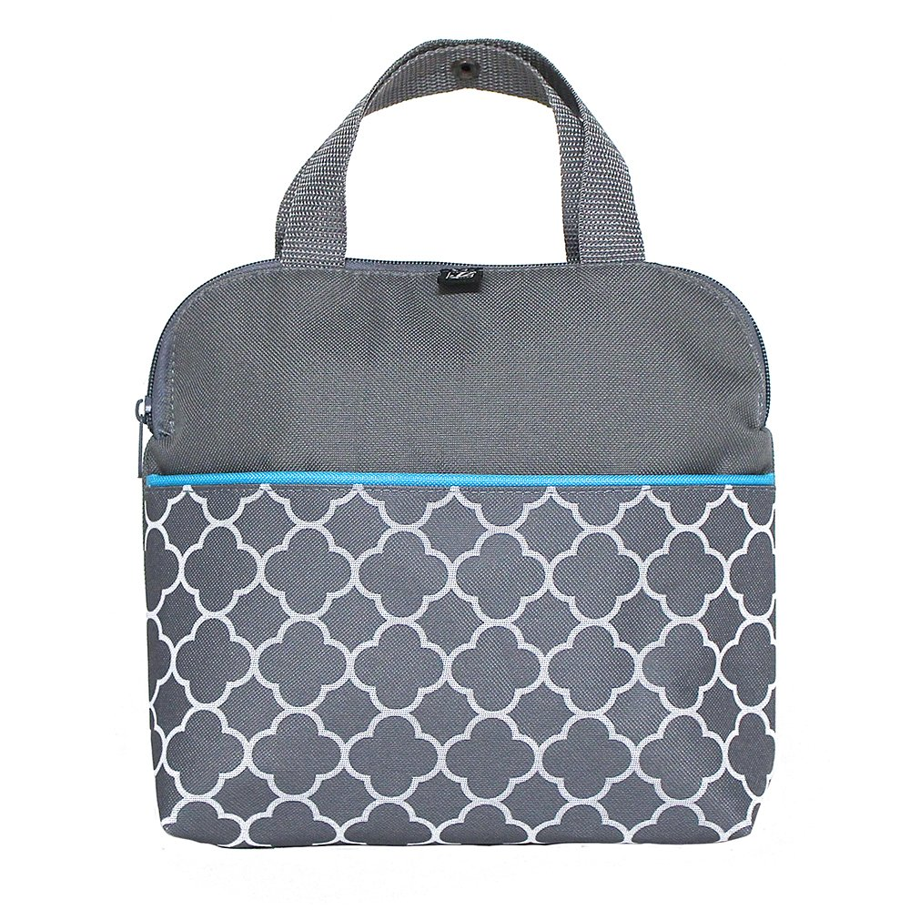 J.L. Childress Maxicool, Breastmilk Cooler, Baby Bottle & Baby Food Bag, Insulated & Leak Proof, Ice Pack Included, Fits 4 Bottles, Grey/Teal Clover (1905GY-CL)