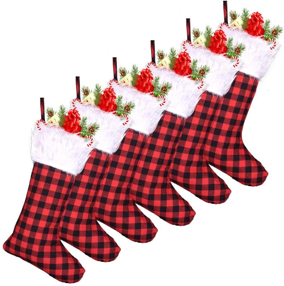 LGHome Buffalo Plaid Christmas Stocking, 6 Packs Black and Red Check Farmhouse Christmas Stockings for Home Christmas Decoration