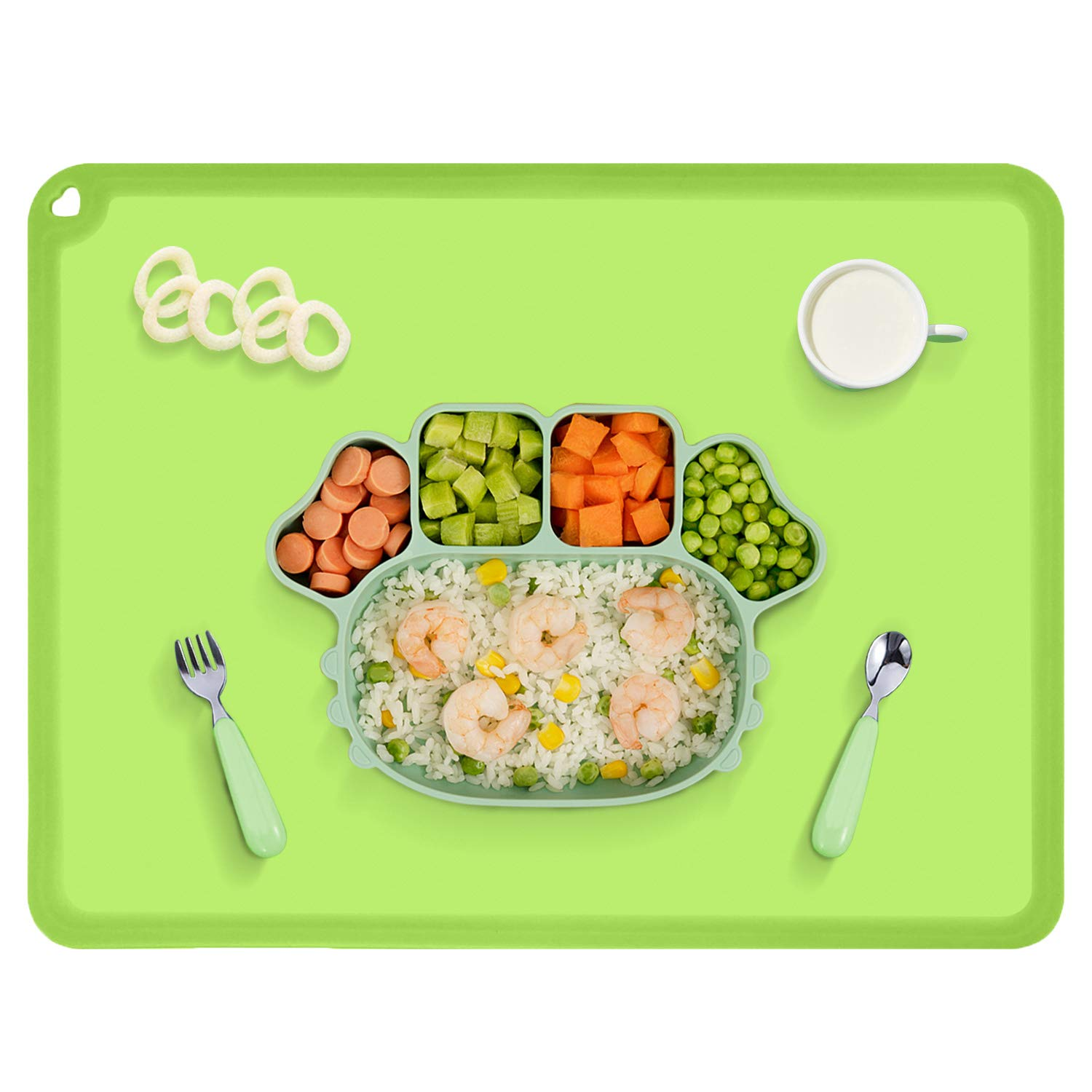 Silicone Kids Placemat, BPA Free Baby Placemat for Kids, Reusable Non-Slip Food Mat Table Topper for Baby Toddler, Green