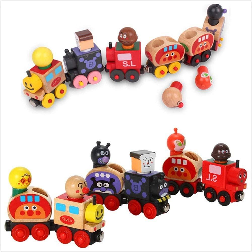 GoodPlay 6 PCS Wooden Train Car Toy Car Set with Detachable Cartoon Driver Children Educational Creative Toy