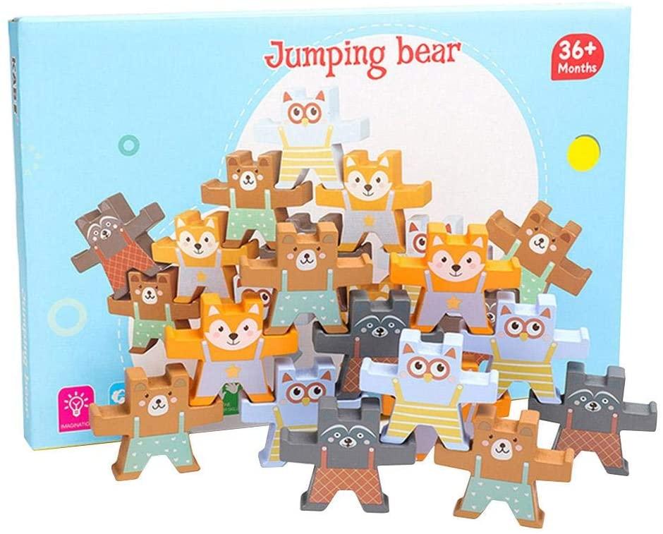 Wooden Bear Stacking Games, Stacking Toys Interlock Balancing Blocks Activity Games Toddler Educational Toys Gift for Kids, Boys & Girls (12 Building Block Pieces)