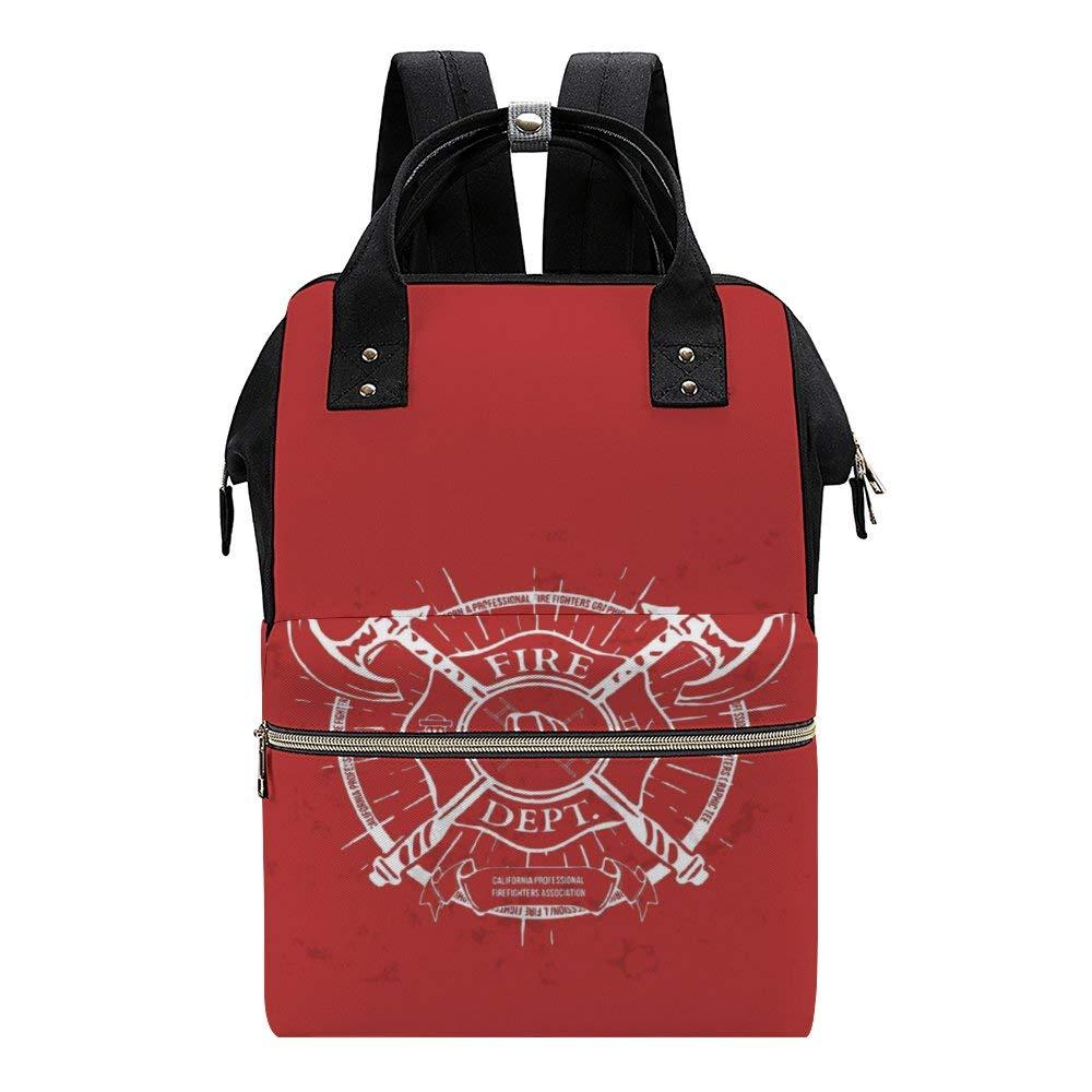 Fire Dept Label Helmet Diaper Bag Backpack Baby Nappy Changing Bags Multifunction Waterproof Travel Back Pack