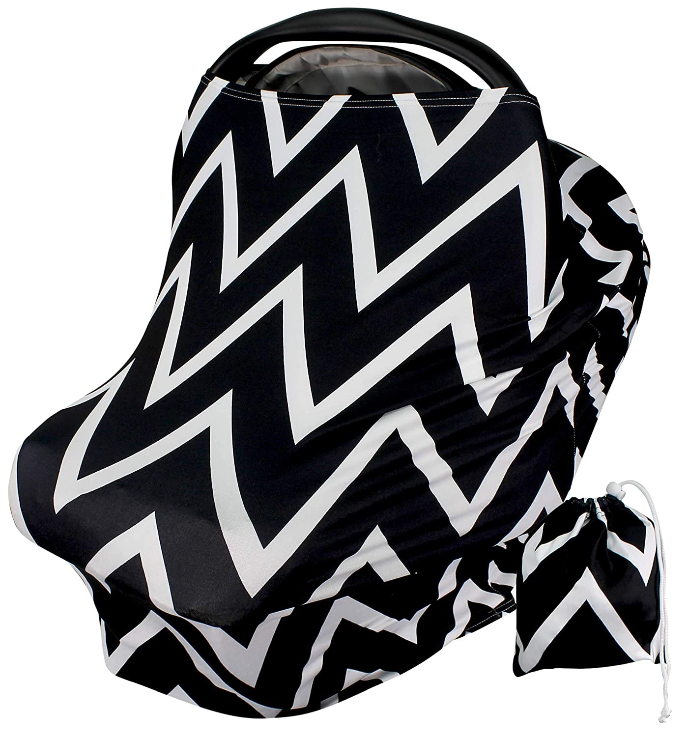 Car Seat Covers for Babies - Large Black and White Zig Zag