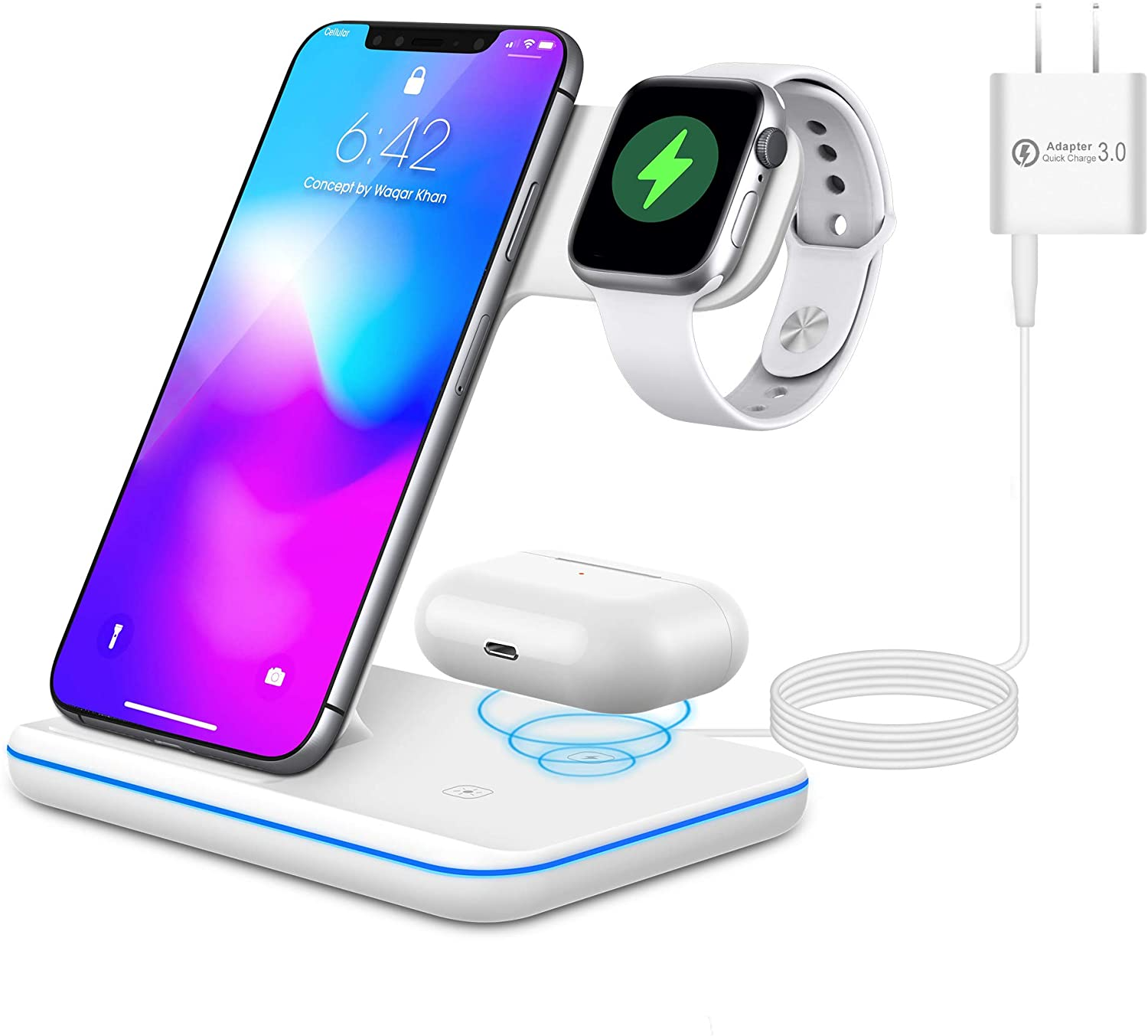 Wireless Charging Station, 3 in 1 Fast Wireless Charger Stand for iPhone/Apple Watch/Airpod, Compatible with Other Qi-Certified Phones(White)