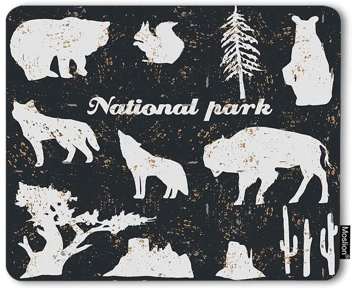 Moslion Mouse Pad National Park Vintage North America Wild Animals Cow Bear Wolf Tree Cactus Gaming Mouse Mat Non-Slip Rubber Base Thick Mousepad for Laptop Computer PC 9.5x7.9 Inch