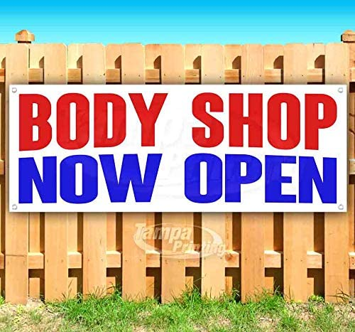Body Shop Now Open 13 oz Heavy Duty Vinyl Banner Sign with Metal Grommets, New, Store, Advertising, Flag, (Many Sizes Available)
