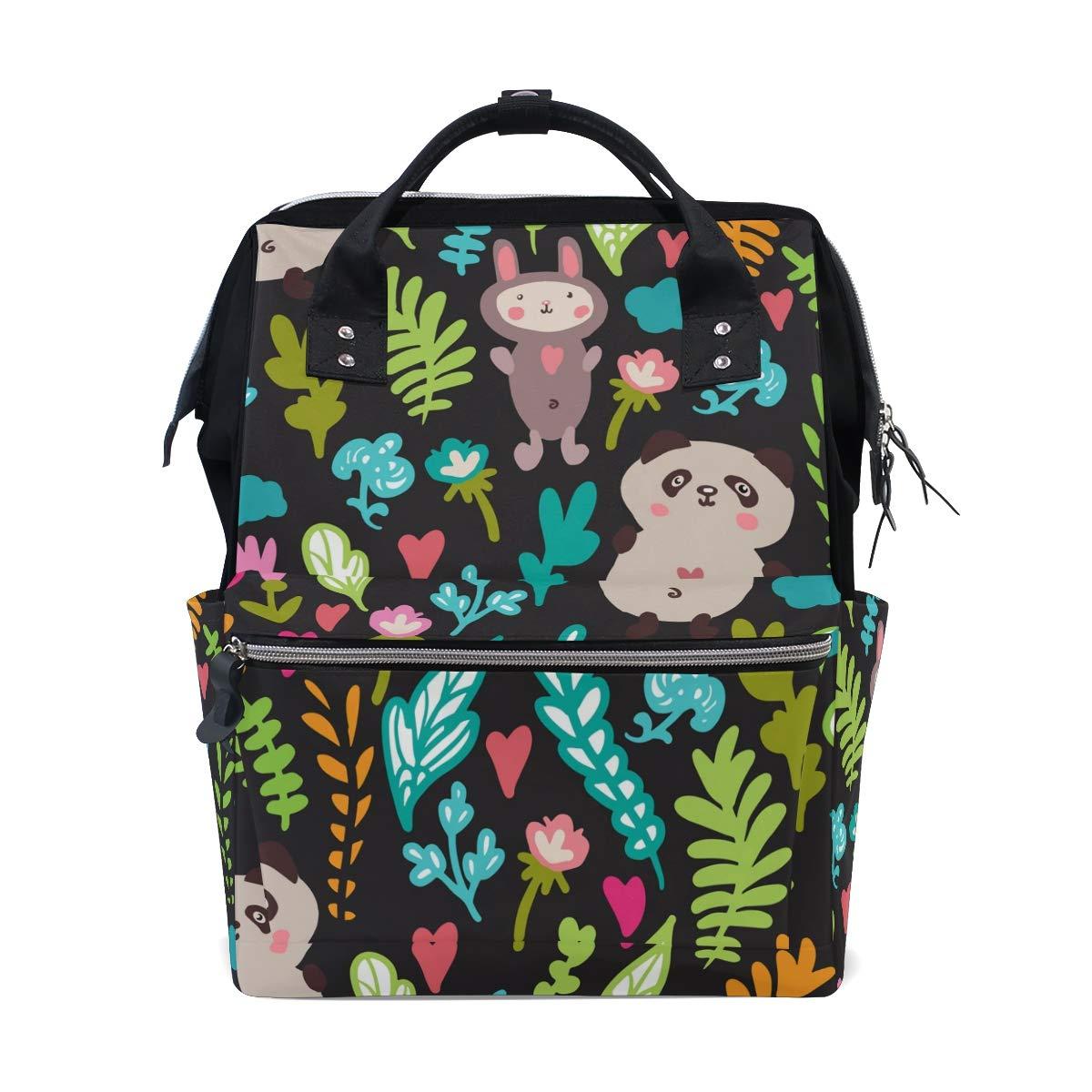 MERRYSUGAR Diaper Bag Backpack Panda Rabbit Flower Multifunction Travel Bag