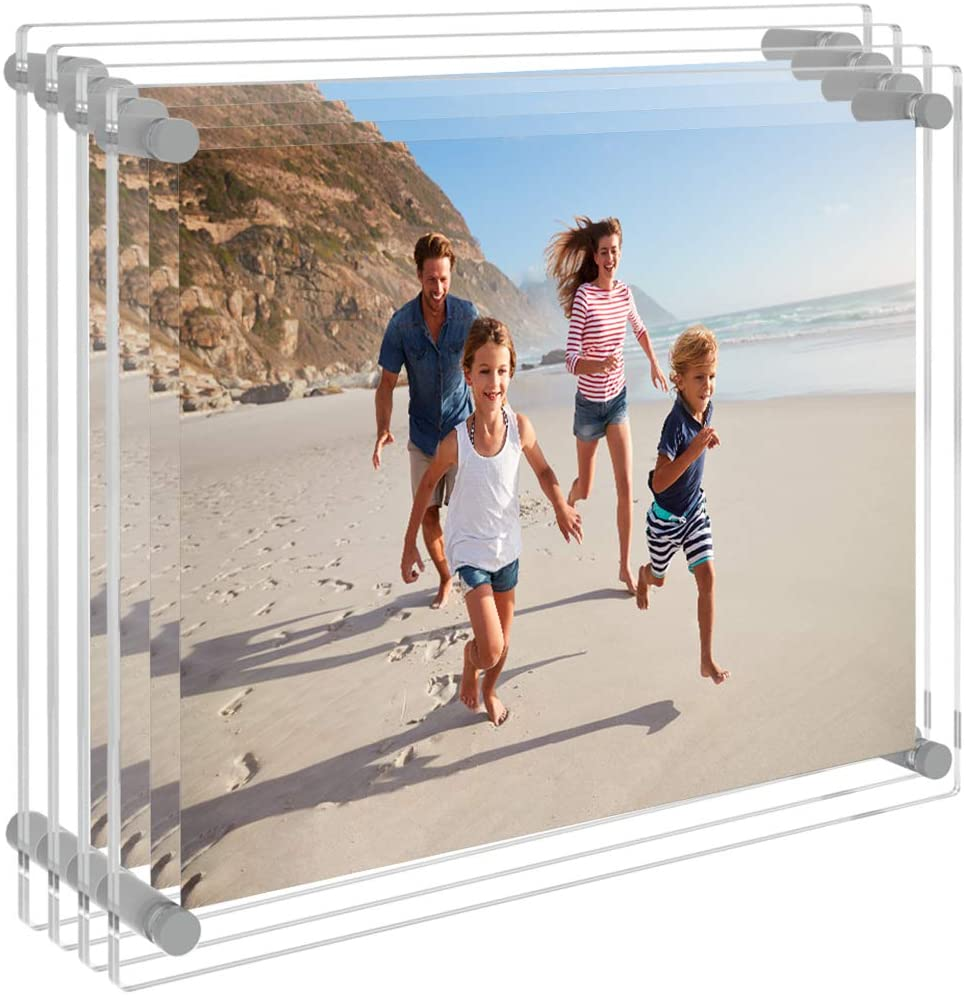 AITEE 8x10 Wall Display Acrylic Picture Frames(4-Packs), Clear Floating Photo Frame Wall Mount, Display Lucite Photo Frames for Office/Home/Living Room.