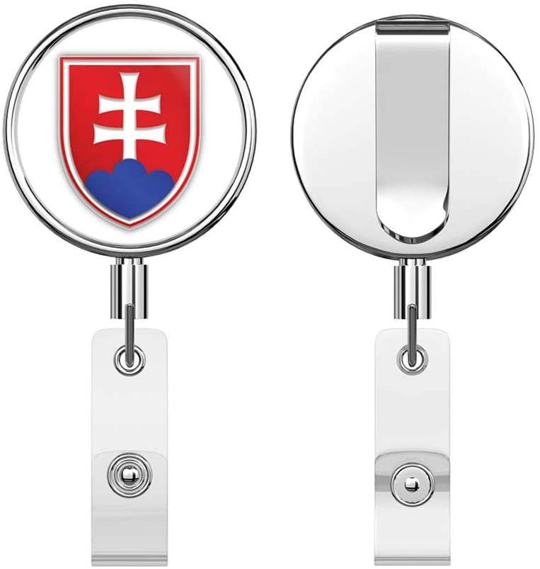 Slovakia Coat of Arms Shield Label Round ID Badge Key Card Tag Holder Badge Retractable Reel Badge Holder with Belt Clip