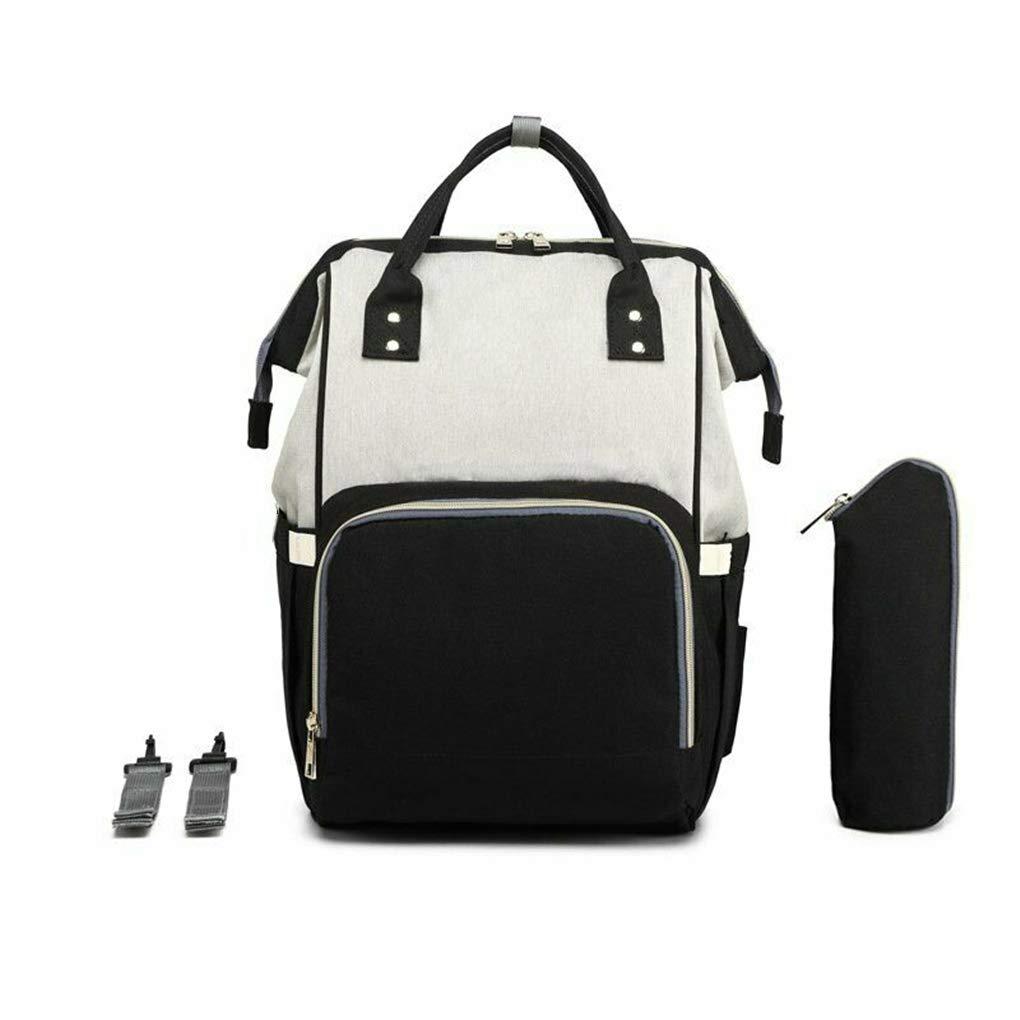 hostic Diaper Bag USB Charging Port Mummy Nursing Backpack Large Capacity Baby Bag (Grey and Black)