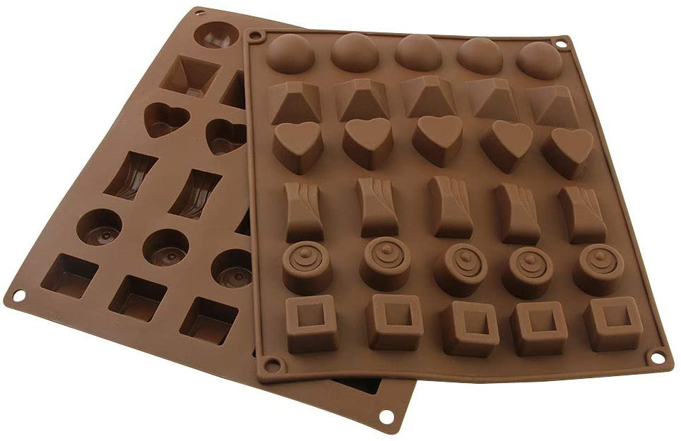 2 Pack Silicone Chocolate Jelly Candy Mold Non-Stick Cake Baking Mold 30-Cavity,Brown