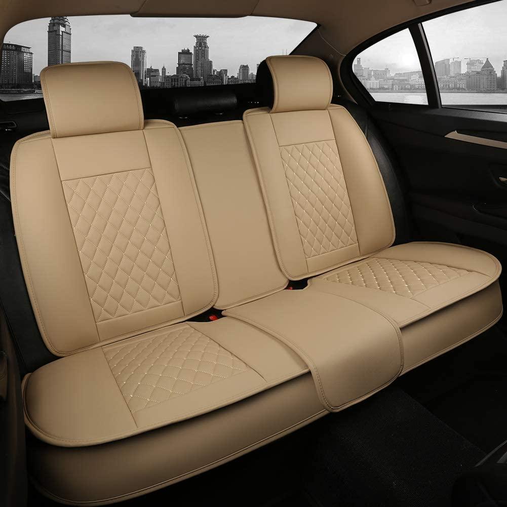 Giant Panda Rear Bench Car Seat Cover Fit Most 5-Seater Sedans SUVs Pickup Trucks (Beige)