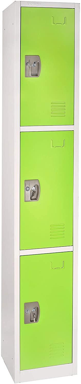 AdirOffice Large School Locker with 3 Doors 3 Hooks Storage Locker for Garage Storage - Office Storage Lockers (3 Door, Green)