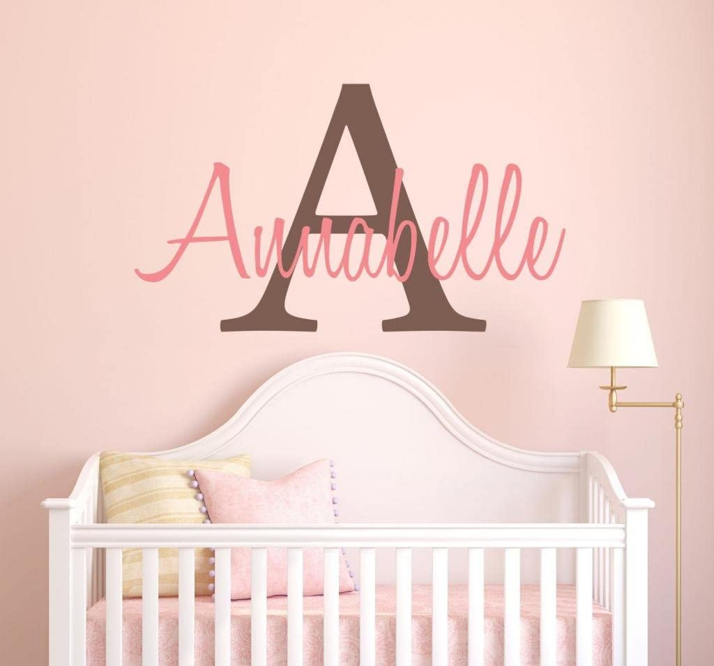 Girls Custom Name and Initial Wall Decal Sticker, 40