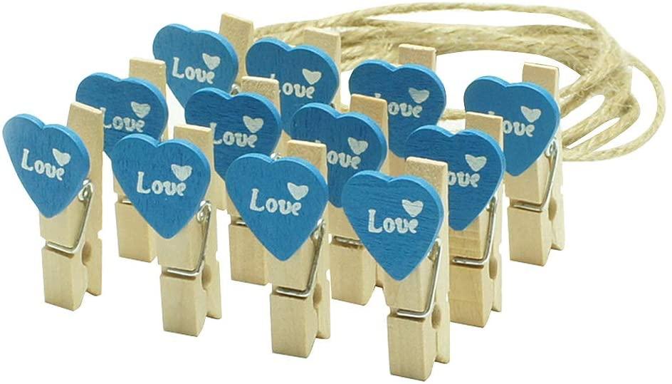 24 Pcs Decorative Wood Clips Photo Clips DIY Photo Wall Clip, Love-1