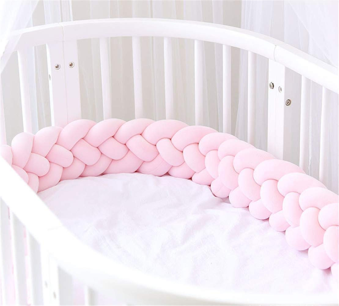 Baby Crib Bumper 4 Weave Bumper Braid Pillow Cushion Bed Snake Braided Bumper Decoration for Crib Cot Newborn Gift Cradle Decor (4.2M(157.5 Inch), Pink)