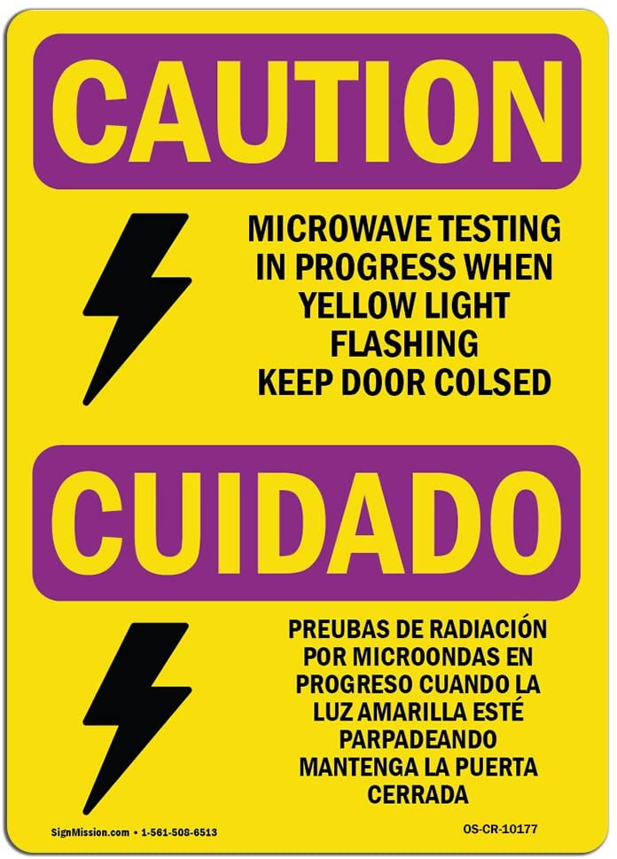 OSHA Caution Radiation Sign - Microwave Testing Bilingual   Choose from: Aluminum, Rigid Plastic or Vinyl Label Decal   Protect Your Business, Work Site, Warehouse & Shop Area   Made in The USA