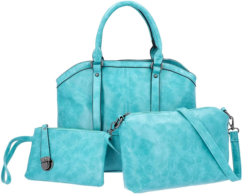 Set of 3 Seafoam Green Faux Leather Tote Crossbody Bag Wristlet Women Ladies Fashion Adjustable Shoulder Strap Shopping Travel Weekender Laptop