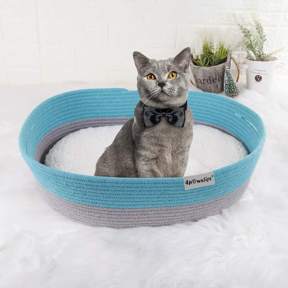 4pawslife Pet Bed for Indoor Cats or Small Dogs, Cotton Rope Woven Cat Bed Puppy Kitty Kitten Rabbit Anti-Slip Bottom Cat Bed House Pet Supplies Cat Toy Basket Washable