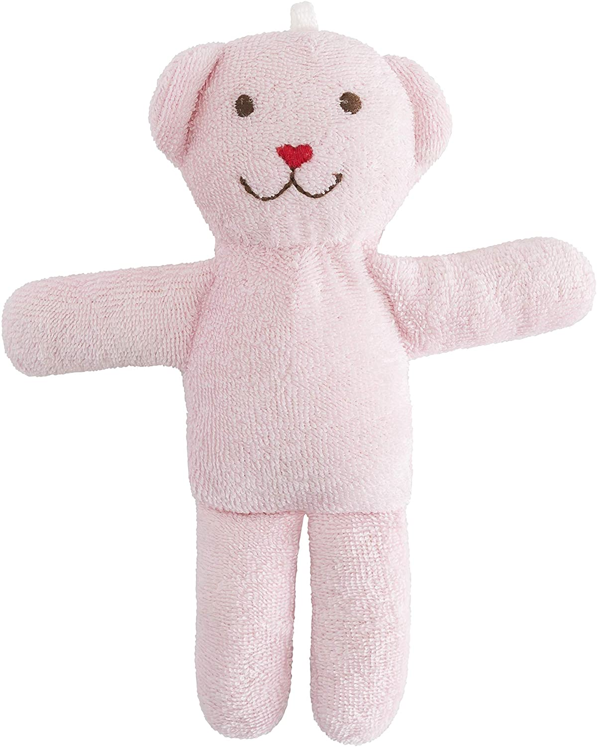 Under the Nile Organic Cotton Baby Toy Scrappy Bear Stuffed Animal 7 Tall, One Bear (Pink)