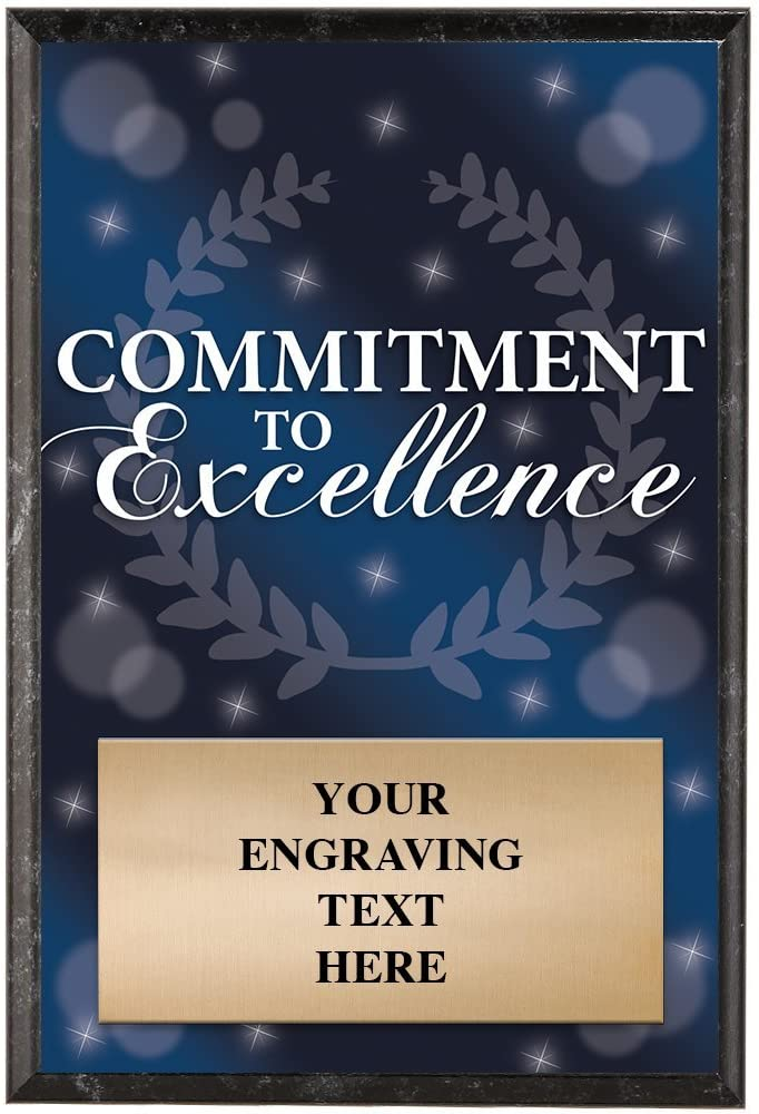 Corporate Plaques - 5 x 7 Commitment to Excellence Recognition Trophy Plaque Award
